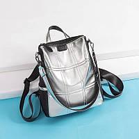 Сумка рюкзак женская 2 в 1 серебристая