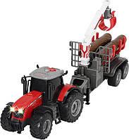 Трактор Dickie Toys Массей Фергюсон 8737 с прицепом для древесины 42 см свет, звук (3737003)