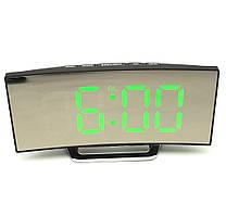 Настольные зеркальные электронные LED часы изогнутый экран DT-6507 черные