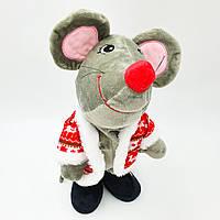 Музыкальная новогодняя мышка поет песни и танцует 30 см
