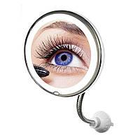"""Зеркало увеличительное 5X для макияжа с LED подсветкой на гибкой ножке с присоской диаметр 8"""" UKC ultra"""