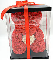 Мишка из красных 3D роз медведь Тедди с белым сердцем в подарочной упаковке 40 см красный