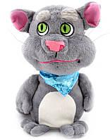 Говорящий Кот Том повторюшка мягкая плюшевая интерактивная игрушка повторюша серый