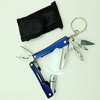 Мультитул 9 в 1 фонарик плоскогубцы нож отвертка брелок с чехлом UKC синий