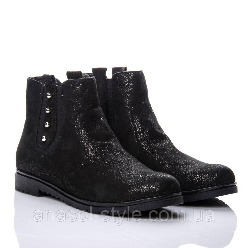 Ботинки La Rose 2144 41(27см) Черная замша блеск