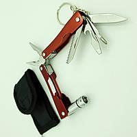Мультитул 9 в 1 фонарик плоскогубцы нож отвертка брелок с чехлом UKC красный