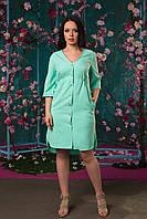 Женское ассиметричное платье на пуговичках с карманами 50, 52, 54, 56