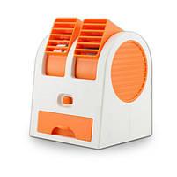 Вентилятор охладитель и увлажнитель воздуха USB и батарейки портативный Fan Electric Mini Fan оранжевый