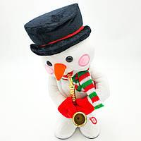 Музыкальный новогодний снеговик играет на саксофоне и танцует 30 см