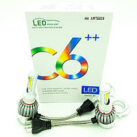 Комплект LED ламп головного світла H4 12v COB 38W 5500Lm C6++ HeadLight 2шт