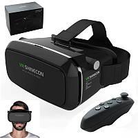 3D Очки виртуальной реальности VR Shinecon с Джойстиком пультом Blutooth Черные