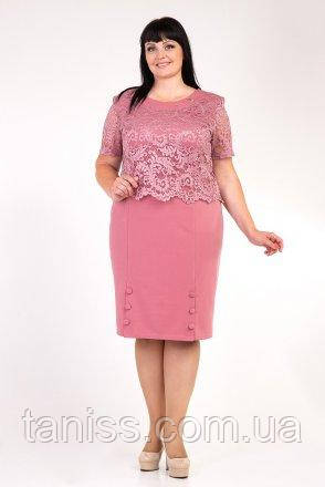 """Летнее, женское, праздничное платье """"Милана"""", ткань креп-дайвинг,гипюр, размеры 54,56,58,60(023) пудра,сукня"""
