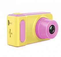 Детский цифровой фотоаппарат фотокамера Smart Kids Camera V7 желто-розовый