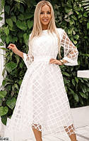 Белое нарядное платье миди с пышной юбкой и c прозрачными рукавами с сетки