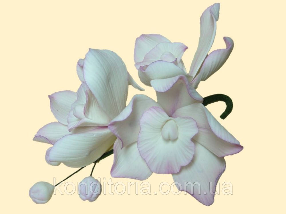 Сахарный цветок веточка орхидеи №1 розовая (мастичные цветы)