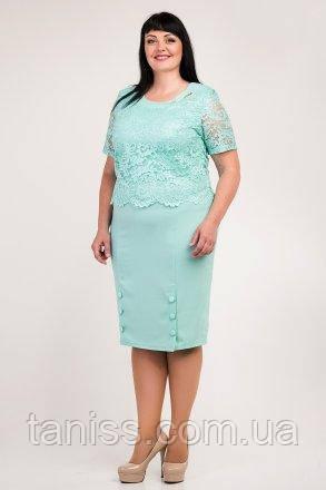"""Летнее, женское, праздничное платье """"Милана"""", ткань креп-дайвинг,гипюр, размеры 54,58(023) мята"""
