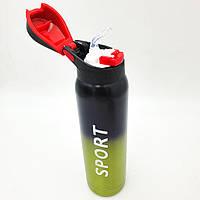 Пляшка термос с трубочкою для води напоїв поїлка спортивна сталева 500 мл SPORT чорно-жовтий