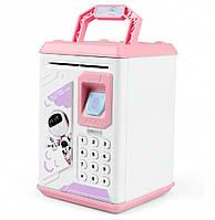 Копилка детский сейф с кодовым замком отпечатком пальца и купюроприемником для бумажных денег и монет UKC розовый