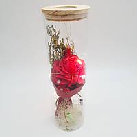 Роза в колбе с LED подсветкой 26 см красная