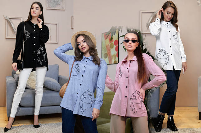 Модная женская рубашка свободного кроя /разные цвета, S-XL, SEV-1327.4012/, фото 2