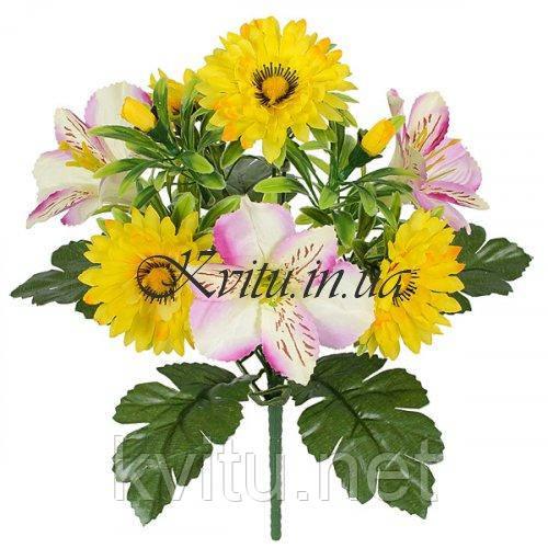 Букет астры с бутончиками и орхидеями, 30см