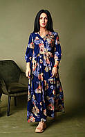 Вільне плаття з квітковим малюнком синє, фото 1