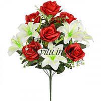 Искусственные цветы букет роза королевская с лилией, 57см