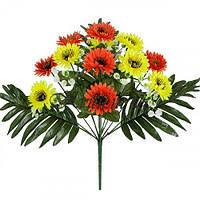 Искусственные цветы букет хризантема цветная микс, 43см