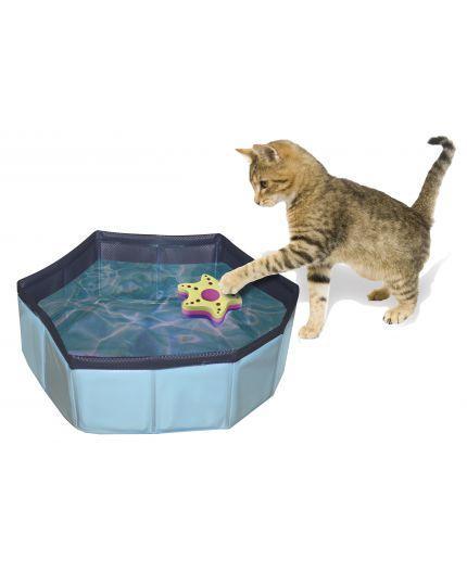 Бассейн для котов CROCI PISCINA, +2 игрушки, надувной, винил, d-30х10см
