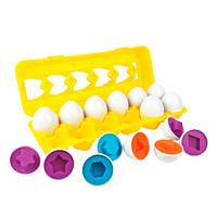 Игрушка сортер развивающая для детей яйца пазлы, 12 штук в лотке