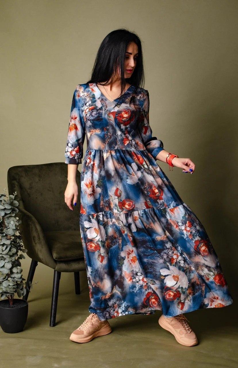 Платье свободного кроя серо-синее
