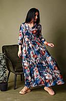 Платье свободного кроя серо-синее, фото 1