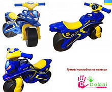 Мотоцикл Doloni синій Поліція толокар беговел каталка Долони мотобайк