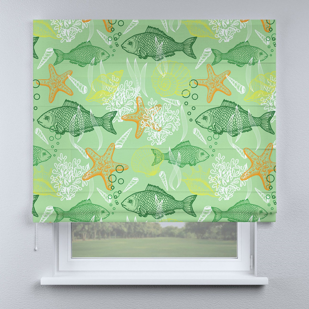 Римская фото штора Рыбки