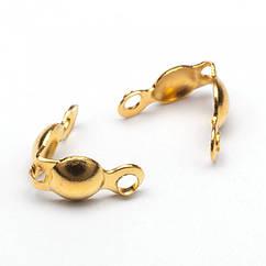 Каллоты из Железа, Зажимы концевики, раковина, Цвет: Золото, Размер: 7.5х4мм, Диаметр внутри 3мм, Отв. 1мм,