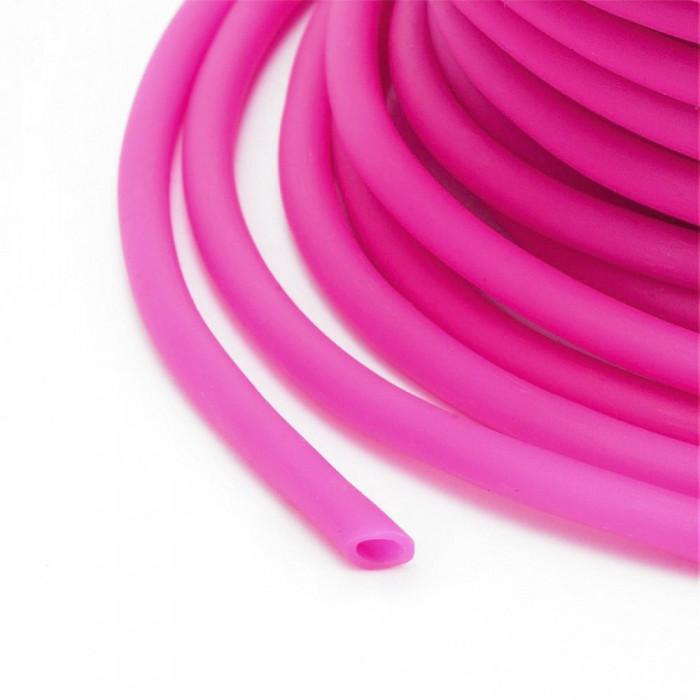 Шнур Резиновый Синтетический полый, Цвет: Малиновый, Размер: Толщина 2мм, Отверстие около 1мм/ Упак.: 5 м
