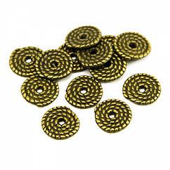 Бусины Monisto Металлический Сплав 10x1.2мм Цвет: Античное Золото 25шт