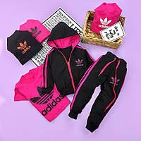 Черный с розовым спортивный костюм комплект для мальчика Adidas Адидас