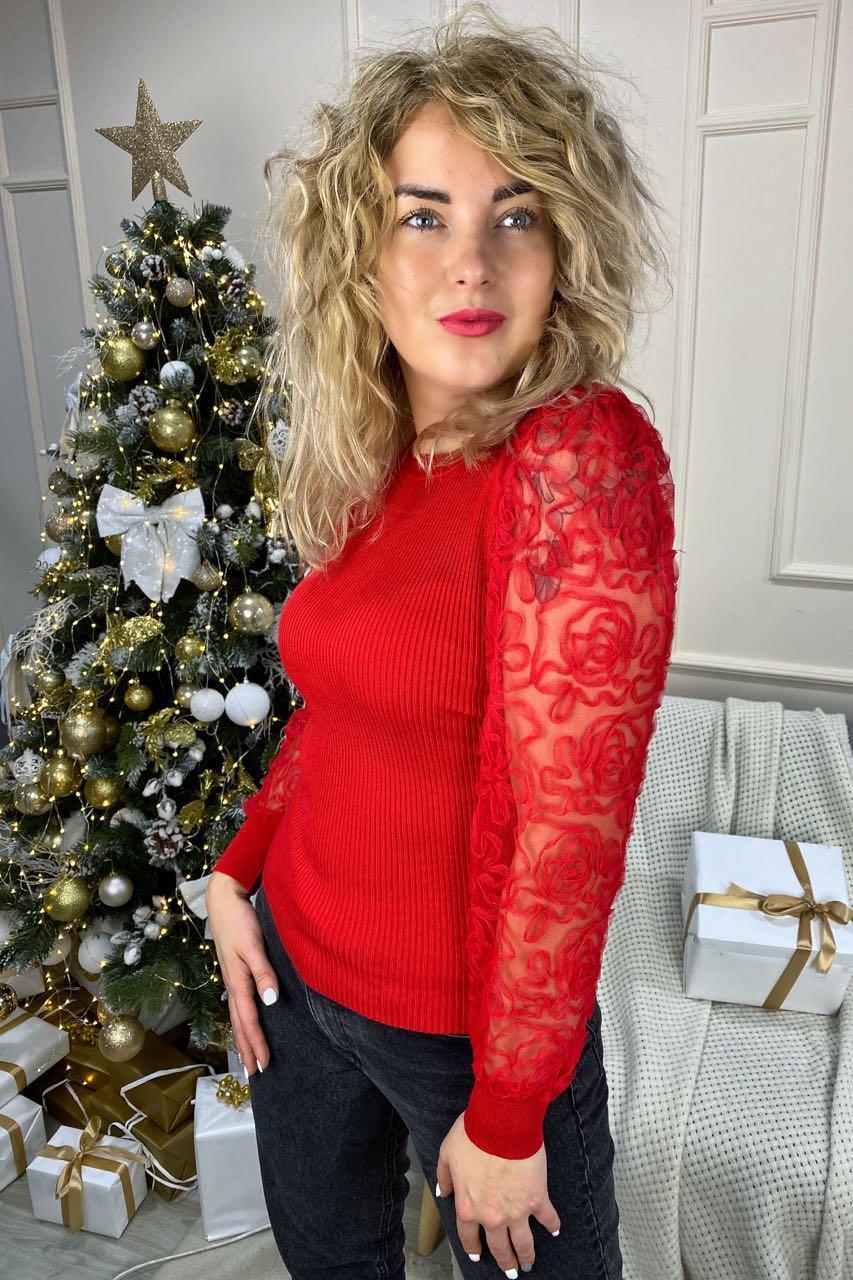 Облегающий джемпер лапша с фатиновыми рукавами  Lovie Look - красный цвет, S (есть размеры)
