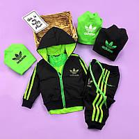 Салатовый спортивный костюм комплект тройка для мальчика Adidas Адидас