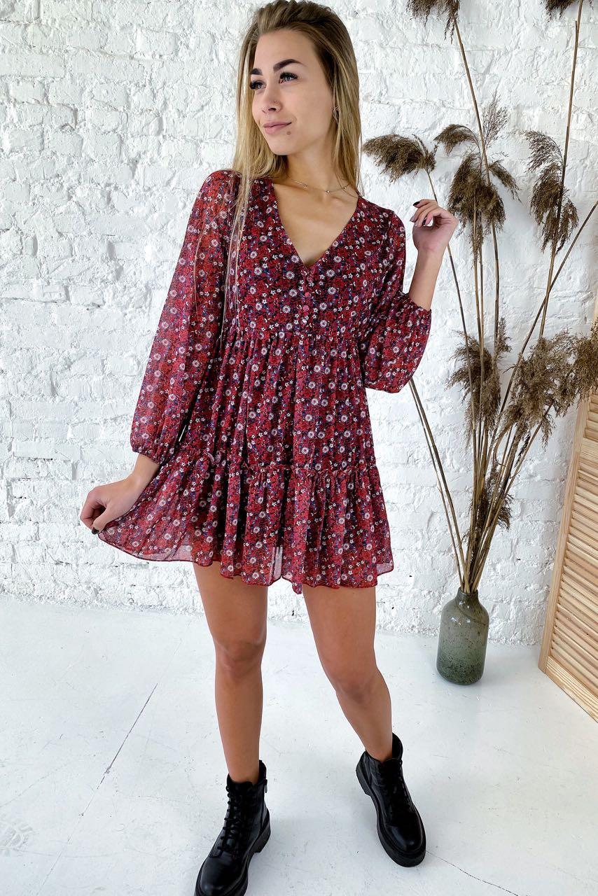 Милейшее платье-туника с оборками и цветочным принтом  Clew - красный цвет, S (есть размеры)