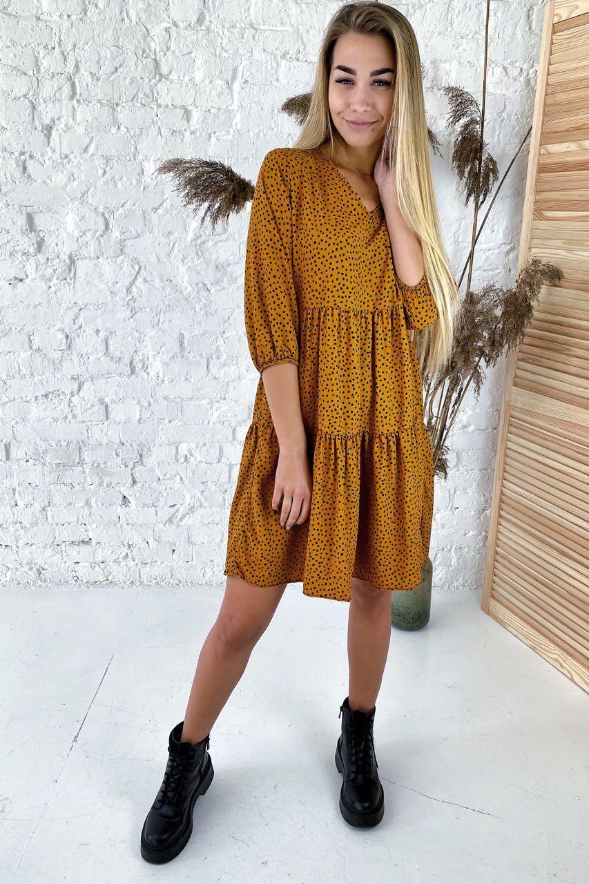 Платье свободного силуэта в горошек  Crep - св-коричн цвет, M (есть размеры)