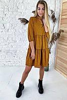 Платье свободного силуэта в горошек  Crep - св-коричн цвет, M (есть размеры), фото 1