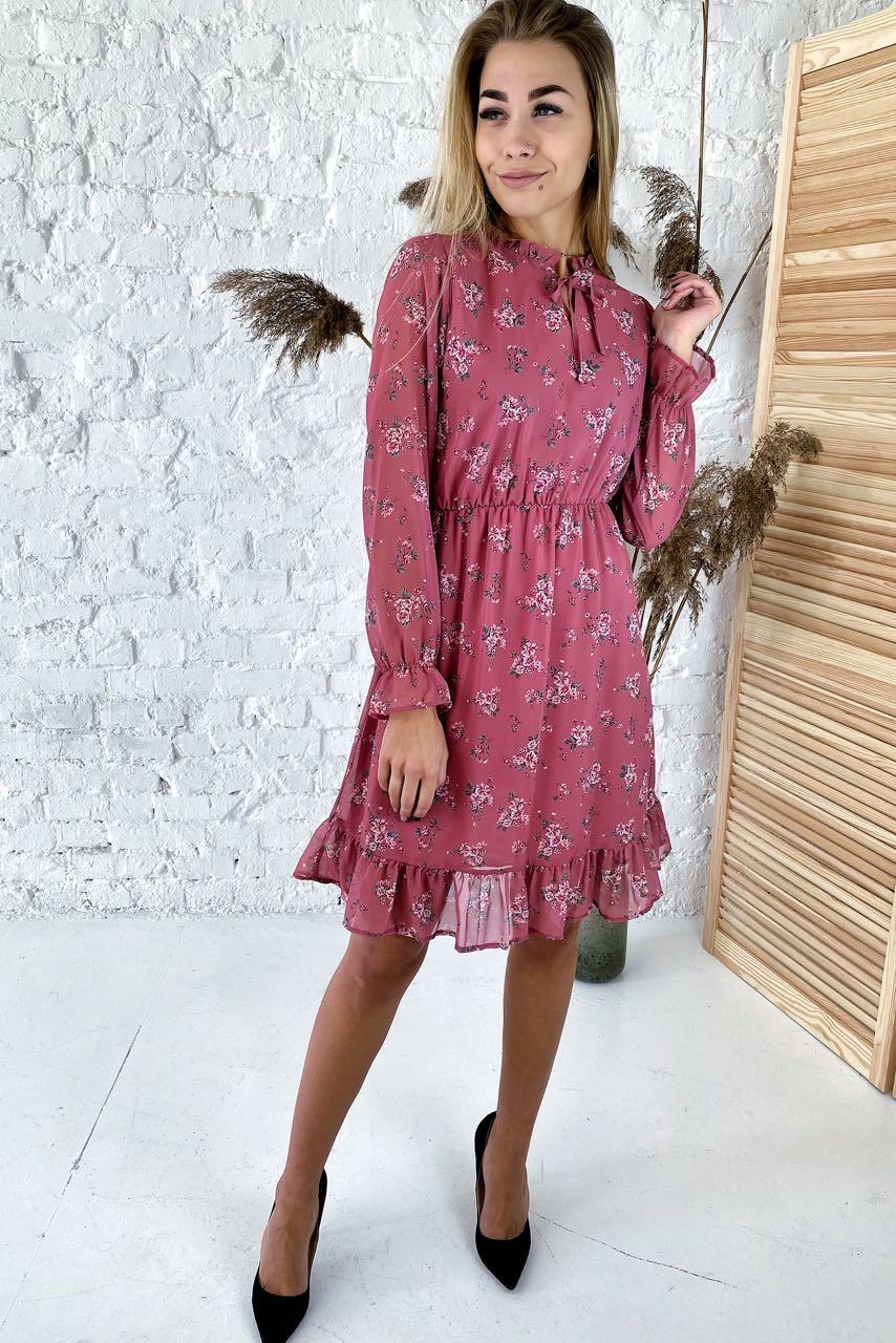 Милое шифоновое платье с нежным цветочным узором  Sensation Life  - розовый цвет, 38р (есть размеры)