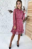 Милое шифоновое платье с нежным цветочным узором  Sensation Life  - розовый цвет, 38р (есть размеры), фото 1