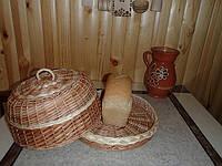 Хлебница с крышкой плетенная из лозы,круглая