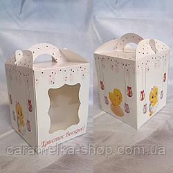 Коробка для пасхи с окошком 17х17х21см с  принтом