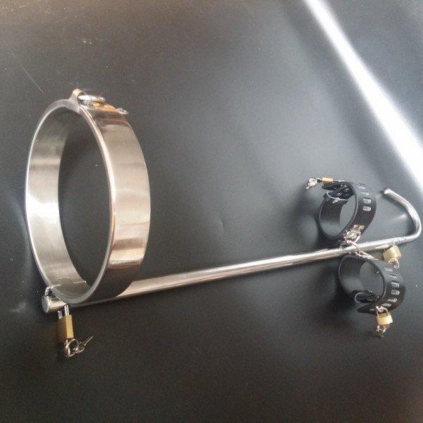 Унисекс стальной фиксатор рук и шеи с анальным крюком - анальное связующее устройство BDSM