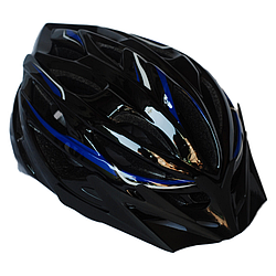 Велосипедный шлем универсальный со съемным козырьком SmartWorld FT-58-2 53-58 см Черный с синим (80840239)