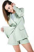 Стильный женский костюм шорти + пиджак 21420 M фисташкового цвета